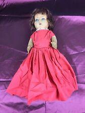 Antique Chad Valley Bambina Doll Felt & Velvet Blue Glass Eyes Brown Hair 20's