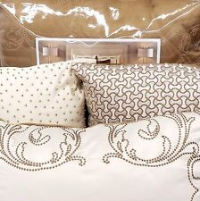 CANDICE OLSON Sonnet QUEEN COMFORTER SET 7pc Pillow Bronze Gold Ivory Embroidery