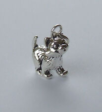 Grazioso Gattino Kitty Cat Ciondolo 3D Argento Sterling 925