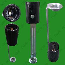 E14 SES Lamp Holder with Stem, Chandelier Light Bulb Socket,  Black 100mm x 23mm
