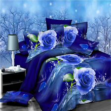 3D Blue Rose Bedding Queen Size Bed Quilt Doona Duvet Cover Set Pillow Cases