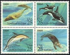 USA 1990 Whale/Dolphin/Sea Lion/Marine/Nature/Animals/Wildlife 4v blk (n28898)