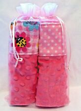 Baby Girl Burp Cloth Gift Set Deluxe Minky And Snuggle Flannel Sandwich 2 Pack