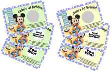 BABY MICKEY MOUSE SCRATCH OFF OFFS PARTY GAME GAMES CARDS 1st BIRTHDAY FAVORS