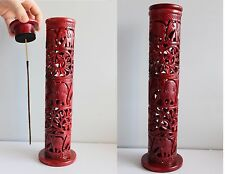 INTRICATE ELEPHANT & LEAF DESIGN RED PAINTED SOAPSTONE INCENSE TOWER BURNER T24