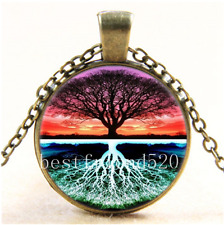Vintage Live Tree Of Life Cabochon Glass Bronze Chain Pendant  Necklace#1I0