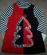 NWT Bonnie Jean Black/Red/White Dress/Top Set RIBBON XMAS TREE 2/2T Girl BOW