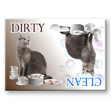 RUSSIAN BLUE Cat Clean Dirty DISHWASHER MAGNET