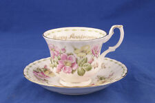 TAZZINA TAZZA THè HAPPY ANNIVERSARY ROYAL ALBERT BUON ANNIVERSARIO FLOWER NEW