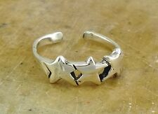 .925 STERLING SILVER STAR ADJUSTABLE TOE RING  style# tr96