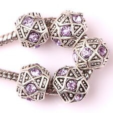 Retro silver 10pcs CZ big hole spacer beads fit Charm European Bracelet AA123