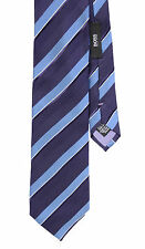 Hugo Boss Purple White Blue And White Stripes 100% Silk Neck Tie