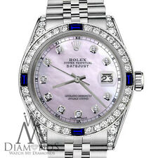 Pink Shiny Pearl Rolex 31mm Datejust Natural Sapphire Diamond Stainless Steel