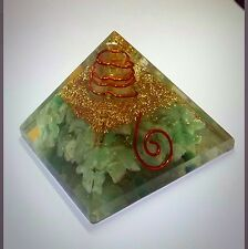 Reiki Energy Charged Natural Green Jade Orgone Pyramid  Energy Generator 6cm Uk