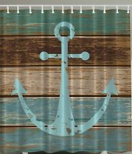 ANCHOR SHOWER CURTAIN RUSTIC DISTRESSED WOODEN DECK PLANK NAUTICAL BOAT SHIP O#