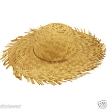 NEW LADIES STRAW BEACHCOMBER HAWAIIAN BEACH SOMBRERO COWGIRL FANCY DRESS HAT
