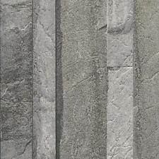 NEW MURIVA BLUFF SLATE PATTERN EMBOSSED FAUX STONE EFFECT WALLPAPER J21619