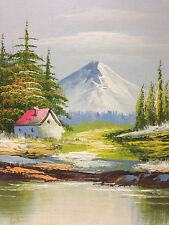 Original Landscape Oil Painting of Cabin Nestled in the Mountains Beautiful