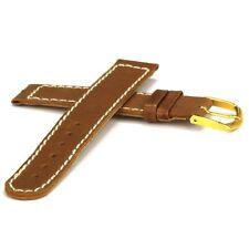 Leder-Uhrarmband braun mit weißer Steppung - 16 mm - Damen-Uhrband Ersatzband