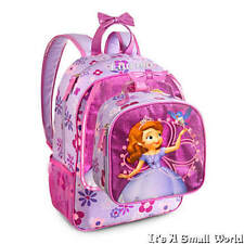 Disney Store Sofia & Amber Glitter Purple Backpack and Lunch Tote Set NWT