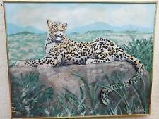 LEE REYNOLDS HUGE LEOPARD OIL PAINTING  SIGNED PERFECT FOR A JUNGLE ROOM 50x40