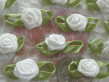 100! Satin Ribbon Roses With Green Leaves - Wedding White Rose Embellishments!