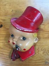Antique Boy Smoking Pipe Ceramic Wall Hanging 8 1/2 Inches Tall