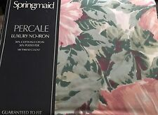 Vintage Springmaid Percale Queen Flat Sheet Florals No Iron