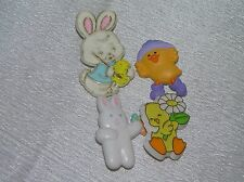 Vintage Lot of 4 Plastic Hallmark Cards Signed Easter Bunny Spring Chicks Pins