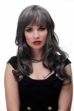 Wig Grey dark brown-grey Mix Wavy Long Fringe smooth 285-44 25 5/8in