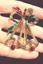 vintage Christmas bell bells green red bow gold tone pin brooch holiday Gerrys