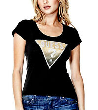 NEW Genuine GUESS Black Sparkly Diamonte Logo T Shirt Womens Size XL (X-Large)