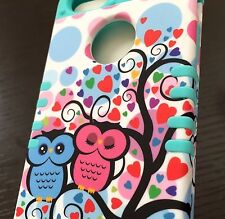 For iPHONE 5 5S -HARD&SOFT HYBRID HIGH IMPACT CASE MINT BLUE PINK LOVE TREE OWLS