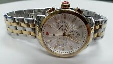 NWT, Michele Women's MWW25A000002 'Uptown' Chronograph Diamond Two-Tone SS Watch