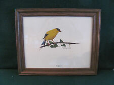 LARGE GLASS FRAMED LITHOGRAPH OF A GOLD FINCH  SIGNED /D.SILK '79