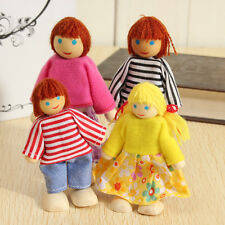 4 Dolls Wooden House Family People Friends Set Kids Children Pretend Play Toy