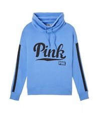 Victoria's Secret Pink Cowl Neck Graphic Pullover Sweater Color Blue Sz M  NWT