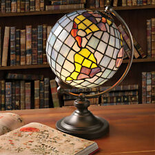 Desk Lamp - Stained Glass World Globe Illuminated Accent Light