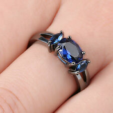 Blue Sapphire Solitaire Wedding Rings Women's 14Kt Black Gold Filled Size 6.5