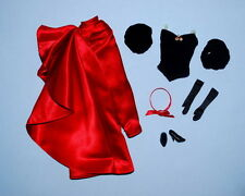 SOPHISTICATED!  Black Top & Long Red Skirt Genuine BARBIE Fashion Clothes