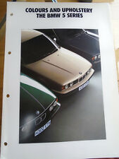 BMW 5 Series Colour & Upholstery brochure 1990