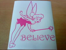 pink tinkerbell believe fairy dust girls girly vinyl car sticker wall art laptop