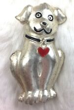 DOG HOLDING HEART BROOCH Puppy Pooch Sweet Love Good Doggy Collar Silver