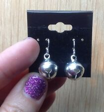 925 sterling silver earrings pewter Jingle Bell Pendant Charms Chime 1 Pair