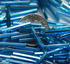 250 Sky Blue Vintage Silver Lined Czech Glass 15mm Tube Beads HUGE LOT! Last 1s