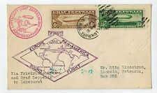 Graf Zeppelin Friedrichshafen Germany To Lakehurst N.J Flight Cover W/ C13+C14