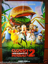 "Cloudy with a chance of Meatballs 2 - 40""X27"" BS Orig. Movie Poster 2013"