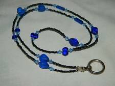 Vintage BLUE Czech Glass Bead Peeper Keepers Eyeglass Necklace Holder w/Stg Ring