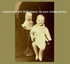Vintage Freak Baby Devil Mirror PHOTO Creepy Scary Child Weird Doll