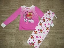 "Girls,""ANGRY BIRD, lot of 2, PAJAMA SET"" TOP&BOTTOM, Size 10/12,L"
